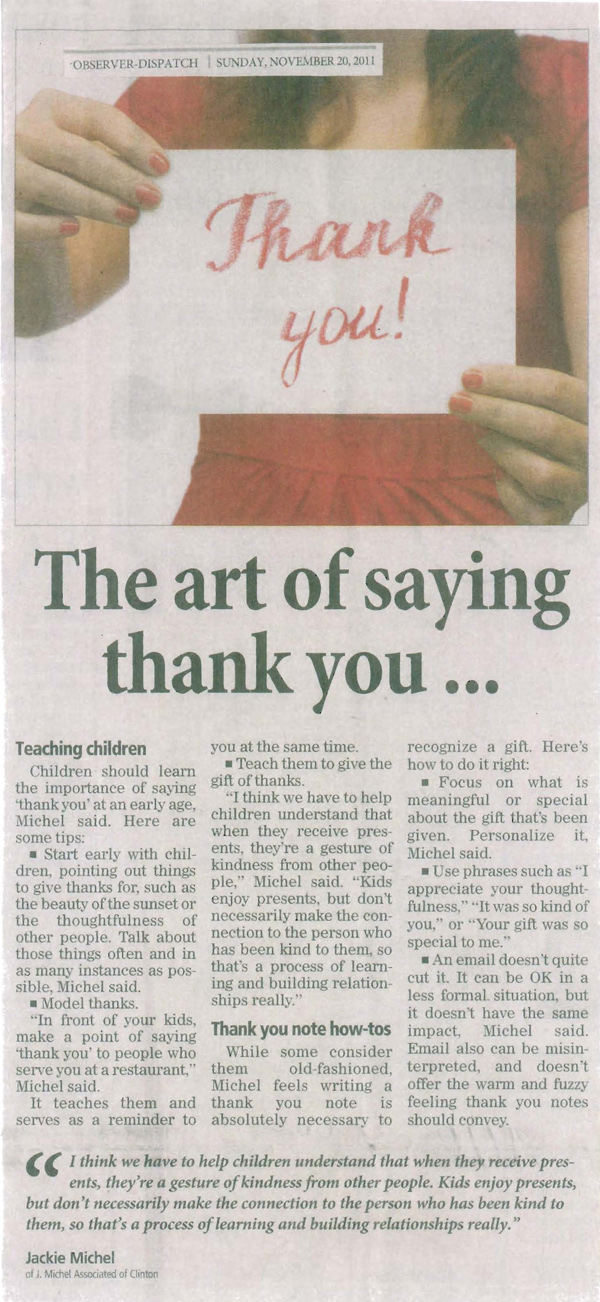 OD Article - The Art of Saying Thank You